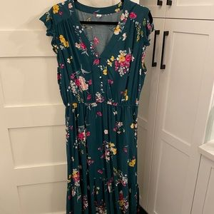Teal floral summer dress